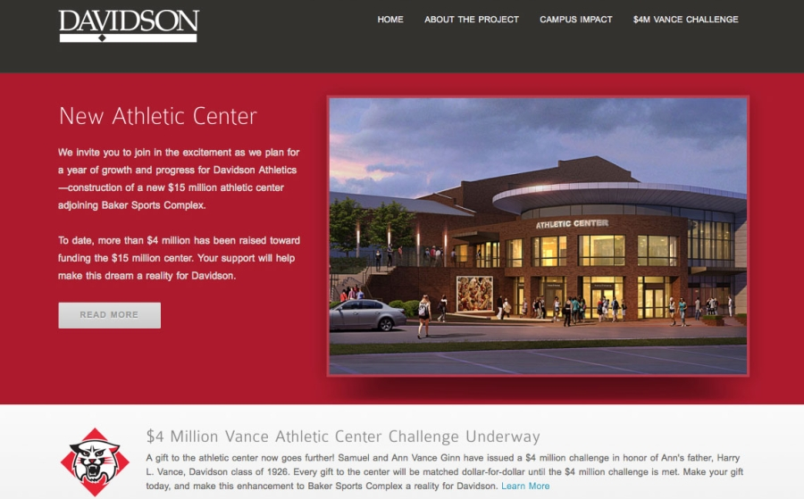 New Athletic Center Fundraising Website